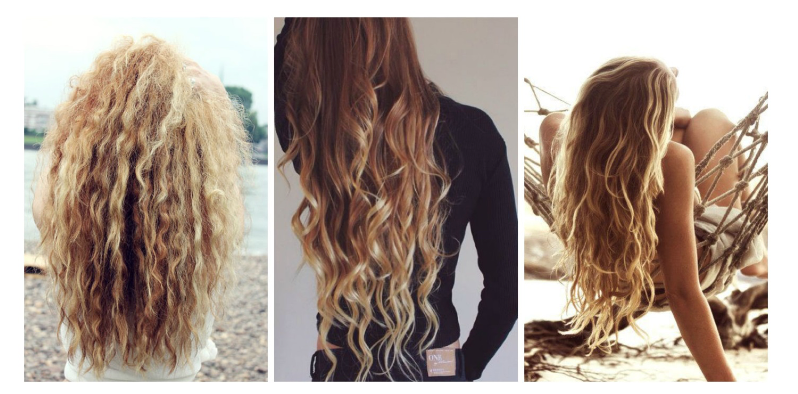 Three women with surfer girl hair styles
