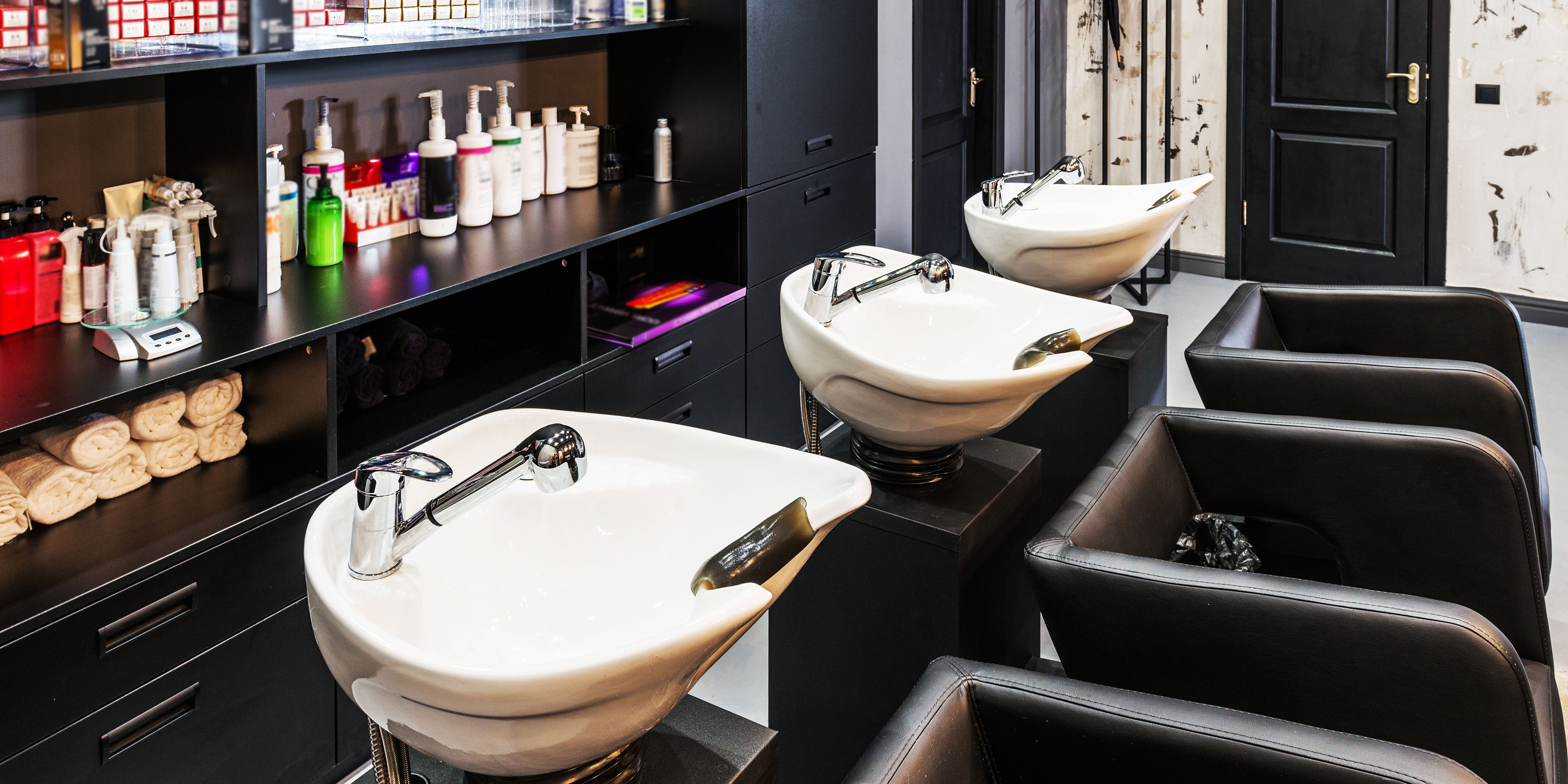 Hair wash bowls at a luxury salon